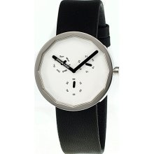 Issey Miyake Twelve 38mm Chronograph Watch White Dial; Leather Black Band; Silver Bezel; Clea - Issey Miyake Watches