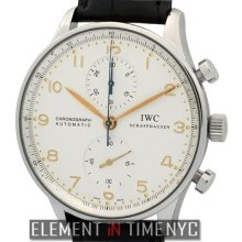 Iwc Portuguese Chronograph Stainless Steel 41mm Silver Arabic Dial Iw3714-01