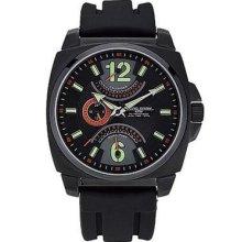 Jorg Gray Jg1040 18 Dual Time Display Black Silicone Strap Men's Watch
