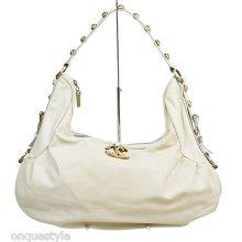 Just Cavalli Cream Leather Studded Hobo Handbag
