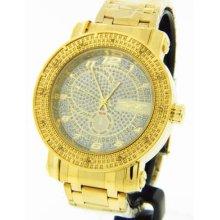 King Master Men Diamond Gold-tone Stainless Steel Case Silver Diamond Dial Watch