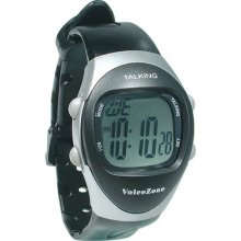 Ladies 4-alarm Talking Watch - Black, Silver