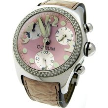 Ladies Corum Large Bubble 396.157.47 Pink Dial Quartz Chronograph Diamond Watch
