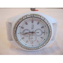 Ladies Geneva Chronograph Watch, Gemstone Bezel/silicone Band + Fossil Box