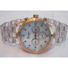 Ladies Geneva Chronograph Watch, Clear Acrylic Band And Coppertone Bezel