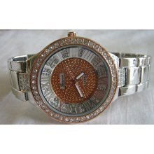 Ladies Geneva Coppertone/gemstone Bling Watch + Michael Kors Perfume Sample