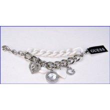 Ladies Guess Silver Charm Chain Watch W11532l1