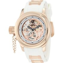 Ladies Invicta 1823 Russian Diver Mechanical Rose Gold Tone Skeleton Watch