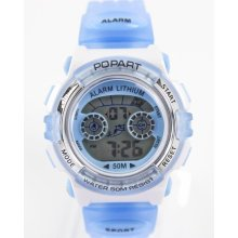Ladies Men 50 M Swim Water Resistant Date Alarm Clock Blue Watch E20310b