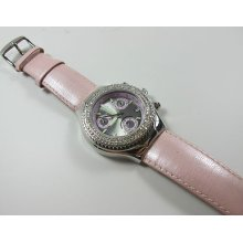 Ladies Technomarine Technodiamond Chronograph Pink Band Dial Diamond Bezel Watch