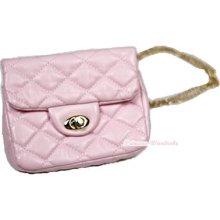 Light Pink Diamond Check Metal Chain Buckle Kids Girl Handbag Shoulder Bag Purse