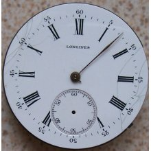 Longines Pocket Watch Movement & Enamel Dial, Balance Broken, 39,5 Mm.