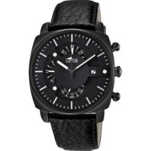 Lotus Men's Quartz Watch With Black Dial Chronograph Display And Black Leather Strap 10108/1