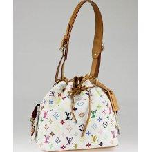 Louis Vuitton White Monogram Multicolore Petit Noe Bag