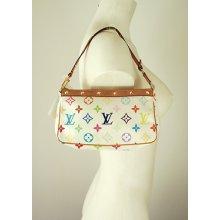 Louis Vuitton White Multicolore Monogram Studded Pochette Mini Bag