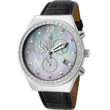 Lucien Piccard 26384bk Radiance Chronograph White Swarovski Crystal Black Mop