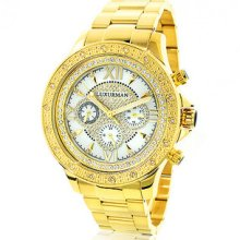 Luxurman Yellow Gold Tone Mens Diamond Watch