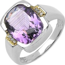 Malaika Sterling Silver Amethyst Two-tone Ring