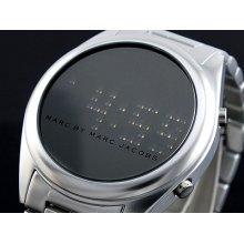 Marc Jacobs Unisex Watch Silver Aluminum Digital Led Chuck W/box Mbm3528