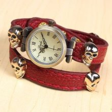 Men Lady Kids Unique Skull&crossbones Red Leather Band Gift Wrist Watch Classic