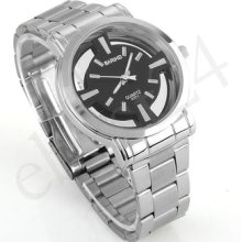 Men Luxury Silver Color Steel Quartz Wrist Watch Business Gift Fashion