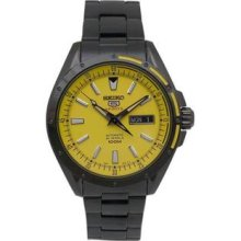 Men's Black Stainless Steel Automatic Yellow