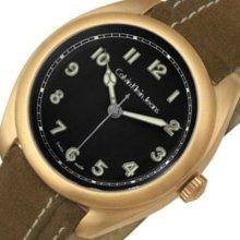 Mens Calvin Klein Swiss Analog Round Watch Brown Leather Band