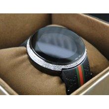 Mens Custom Digital Gucci I-gucci 2 Row White Diamond Watch Ya114207