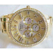 Men's Gemstone Hour Markers Geneva Chronograph Bling Hip Hop Watch