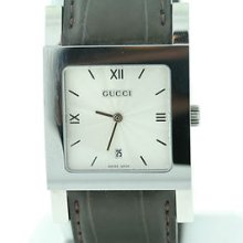 Men's Gucci 7900m Series Ua079304 Silver Dial & Brown Alligator Deployment Watch