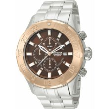 Men's Pro Diver Chronograph Stainless Steel Case and Bracelet Brown Tone Dial