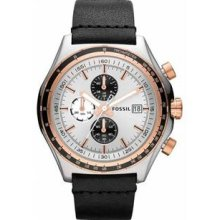Men's Stainless Steel Case Quartz Chronograph Silver Dial Black
