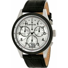 Men's Vintage Stainless Steel Case Leather Bracelet Chronograph Silver
