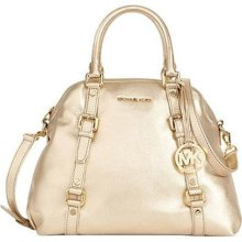 Michael Kors Bedford Large Bowling Satchel in Pale Gold ...