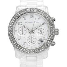 Michael Kors Mk 5188 Women's Chronograph Runway White Ceramic Watch /