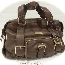 Michael Kors Pebbled Leather Handbag Austin Large Satchel Purse Mocha Brown