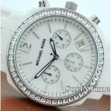 Michael Kors White Acrylic Mop Dial Crystal Chronograph Womens Watch Mk5079