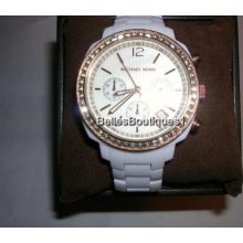Micheal Kors Ladies' Rhinestone Chronograph Watch In Box With Tag