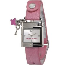 Miss Sixty Ladies Watch Srb005 In Collection Lucchetto, 2 H And S, White Dial And Pink Strap
