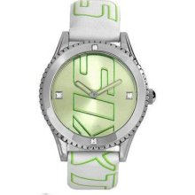 Miss Sixty Women's Paradigma Watch, Light Green Dial, White Leather Strap Sr5003