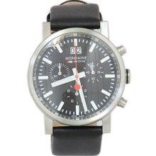 Mondaine Men's Sport A690 Black Leather Chronograph Analog Watch