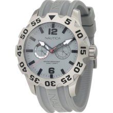 Nautica Mens Bfd 100 Multifunction Grey Dial Stainless Steel Case Resin Watch