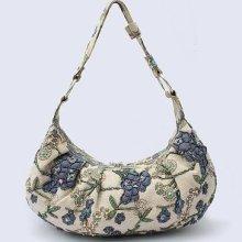 Navy Blue Chinese Women's Linen Beaded Embroidery Handbag Shoulder Bag Flowers