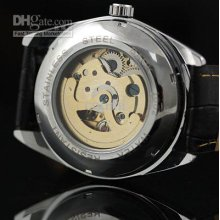 New Men Gold Metal Skeleton Automatic Watch Light Black