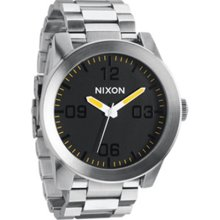 Nixon Men's Corporal SS A3461227-00 Silver Stainless-Steel Quartz Watch with Black Dial