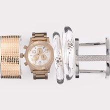 Nixon 'The 42-20 Chrono' Watch Champagne Gold/ Silver