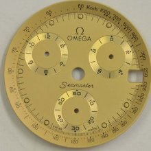 Omega Chronograph 1990s Quartz Calendar Mens Dial Gold W/luminous