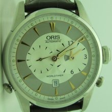 Oris Artelier World Timer Men's Brown Leather Automatic Watch 690-7581-4051