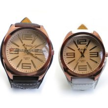 Pair of Big Dial Wide PU Leather Band Student Style Quartz Wrist Watch