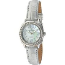 Peugeot Ladies Silver Tone Leather Watch 3011sl